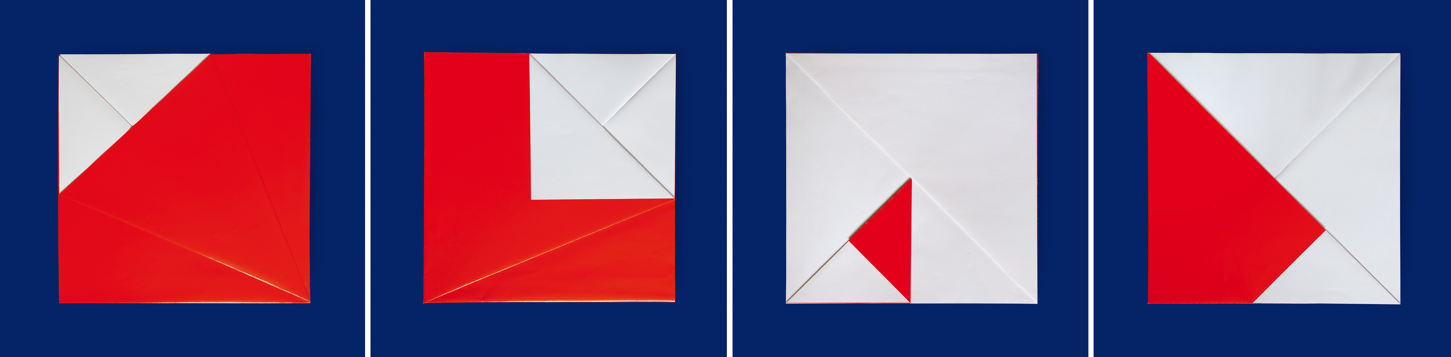 12. a/b/c/d motiv, je 50 x 50 cm, faltung/papier