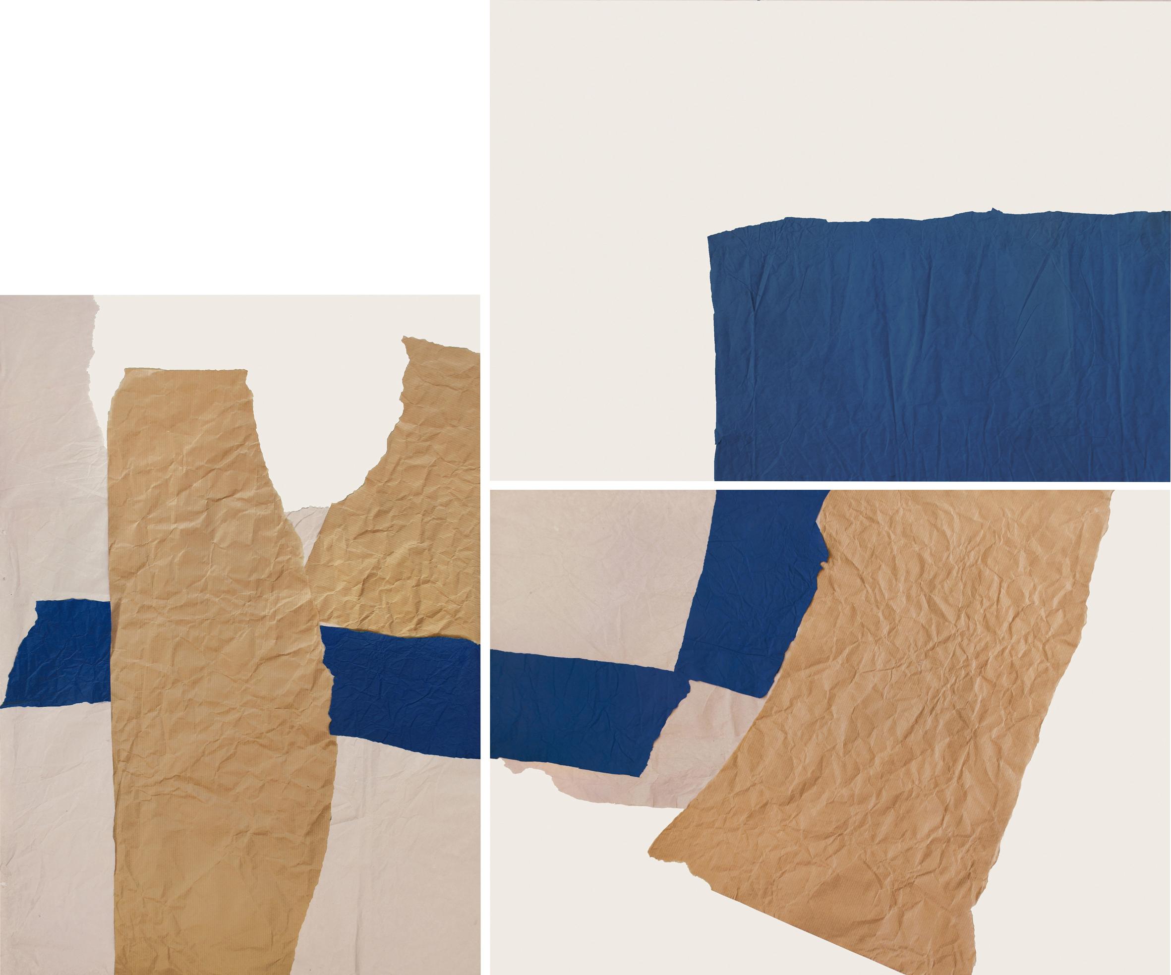 3. motiv (3 teilig), je 70 x 50 cm, versch. papiere